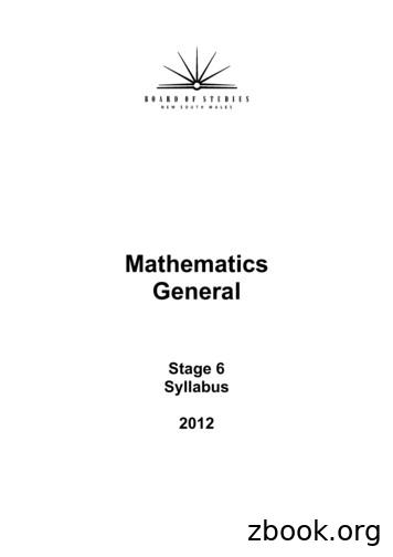 Mathematics General - Stage 6 Syllabus 2012