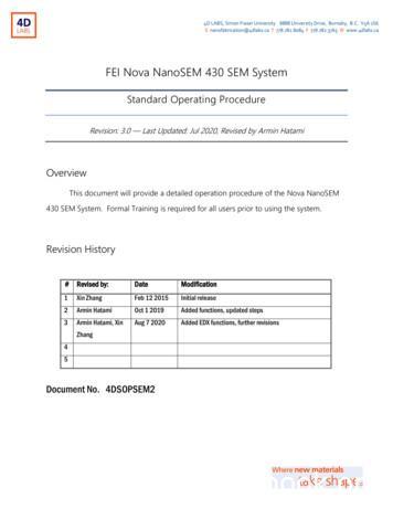 FEI Nova NanoSEM 430 SEM System - 4D LABS
