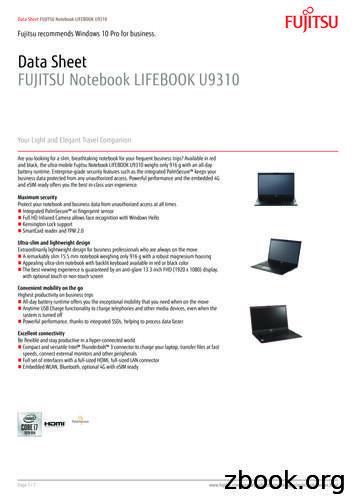 Data Sheet FUJITSU Notebook LIFEBOOK U9310