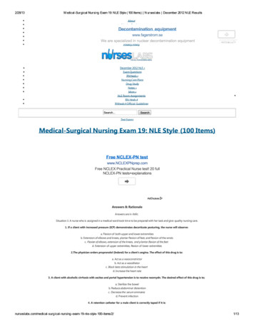 Medical-Surgical Nursing Exam 19: NLE Style (100 Items)