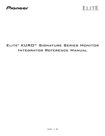 Elite KURO Signature Series Monitor Integrator Reference .