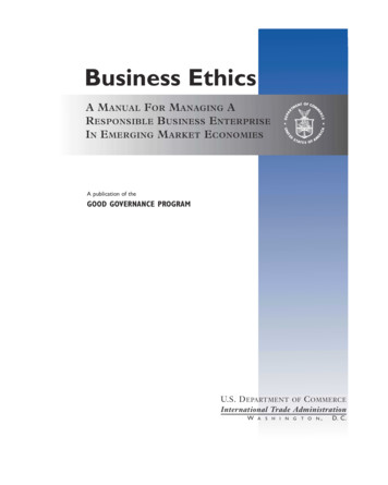Business Ethics - International Trade Administration