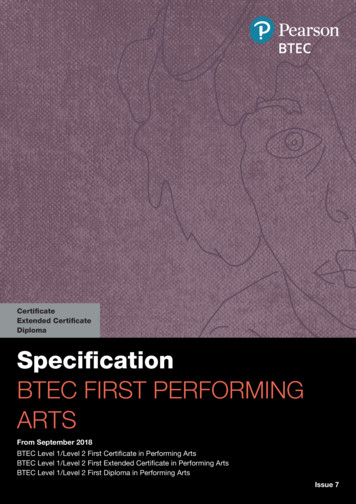 BTEC FIRST PERFORMING ARTS - Pearson qualifications