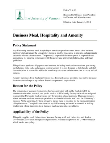 Business Meal, Hospitality and Amenity