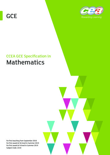 CCEA GCE Specification in Mathematics