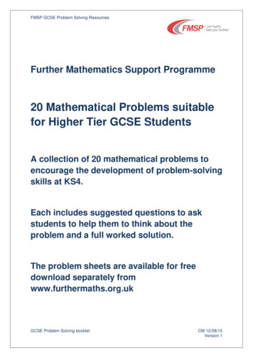 20 Mathematical Problems suitable for Higher Tier GCSE .
