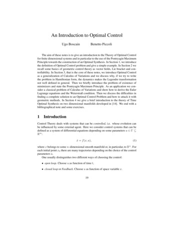 An Introduction to Optimal Control