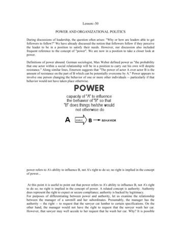 POWER AND ORGANIZATIONAL POLITICS