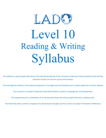 Level 10 RW Syllabus 4e North Star 05 GSE CEFR