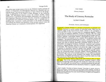 The Study of Literary Formulas - More Popular Fiction