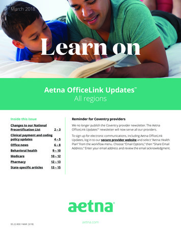 Aetna OfficeLink Updates All regions