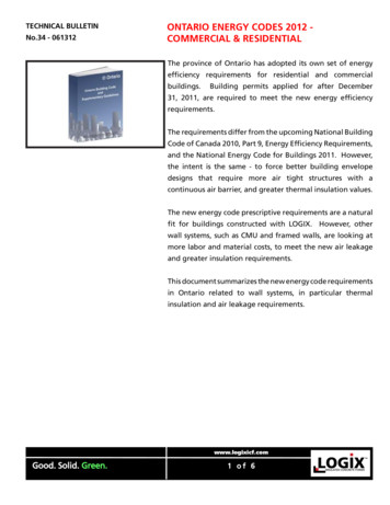 TECHNICAL BULLETIN ONTARIO ENERGY CODES 2012 - No.34 .