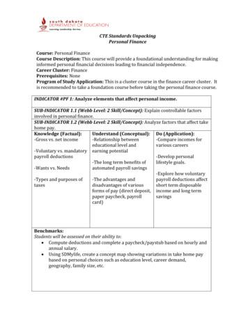 CTE Standards Unpacking Personal Finance