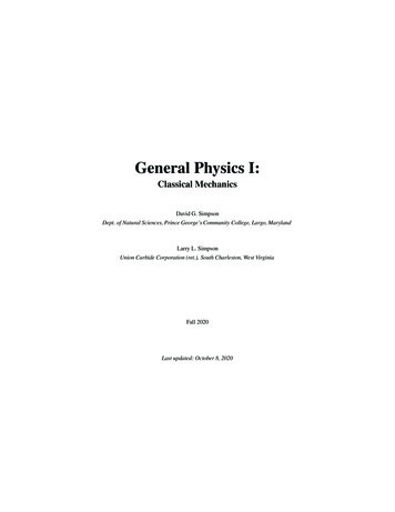 General Physics I - pgccphy