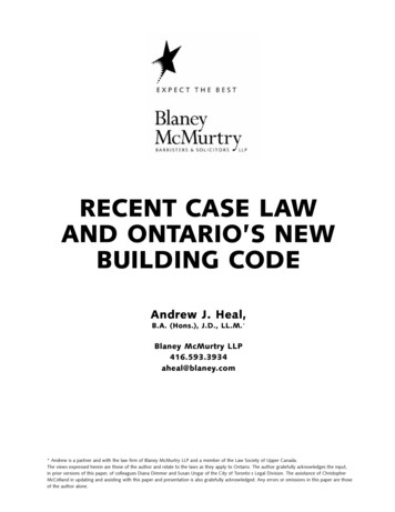 RECENT CASE LAW AND ONTARIO'S NEW BUILDING CODE