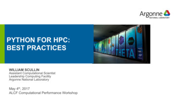 PYTHON FOR HPC: BEST PRACTICES