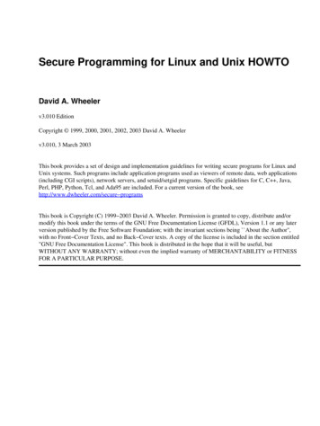 Secure Programming for Linux and Unix HOWTO