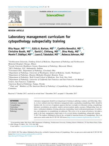 Laboratory management curriculum for cytopathology .