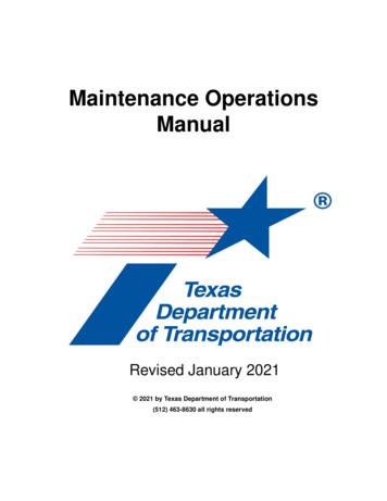 Maintenance Operations Manual (OPE)