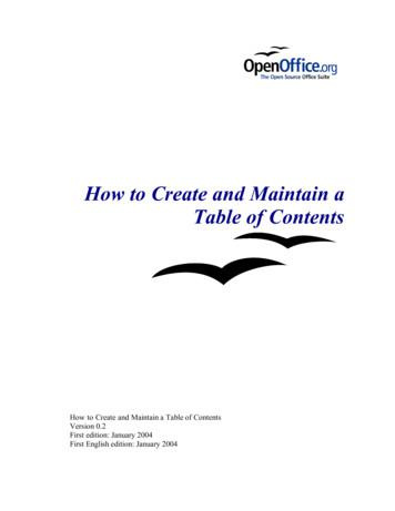 How to Create and Maintain a Table of Contents