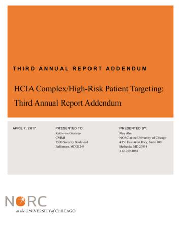 HCIA Complex/High-Risk Patient Targeting: Third Annual .