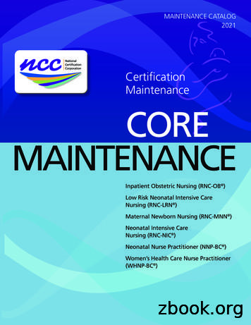 Certification Maintenance CORE MAINTENANCE