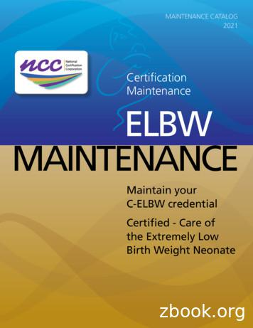 Certification Maintenance ELBW MAINTENANCE