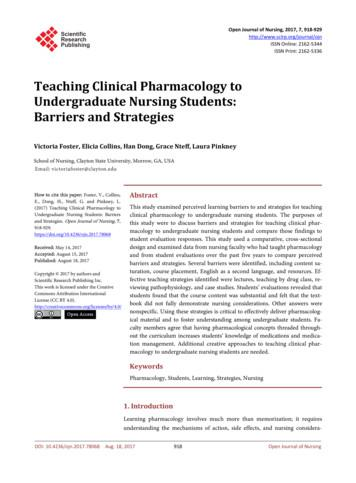 Teaching Clinical Pharmacology to Undergraduate Nursing .