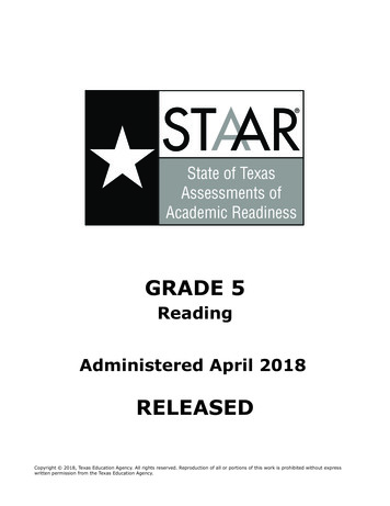 STAAR Grade 5 Reading Administered April 2018