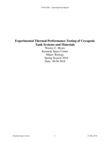Experimental Thermal Performance Testing of Cryogenic Tank .