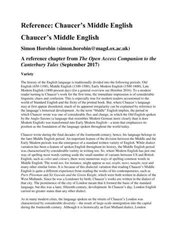 Reference: Chaucer's Middle English Chaucer's Middle English