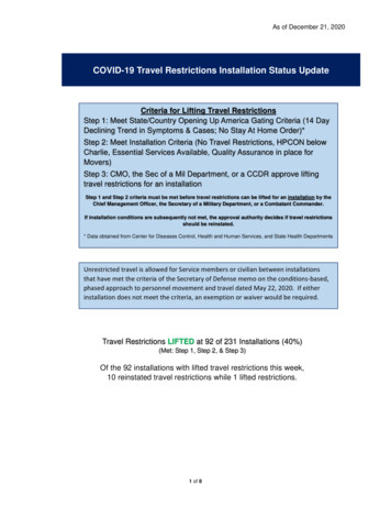 COVID-19 Travel Restrictions Installation Status Update