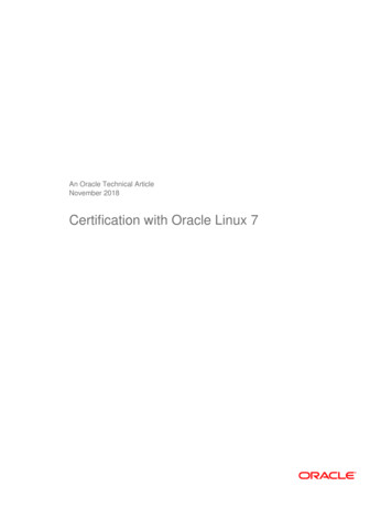 Certification with Oracle Linux 7
