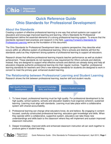 Quick Reference Guide Ohio Standards for Professional .