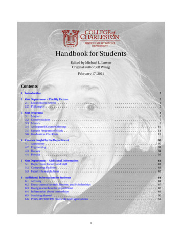 Handbook for Students - Department of Physics and Astronomy