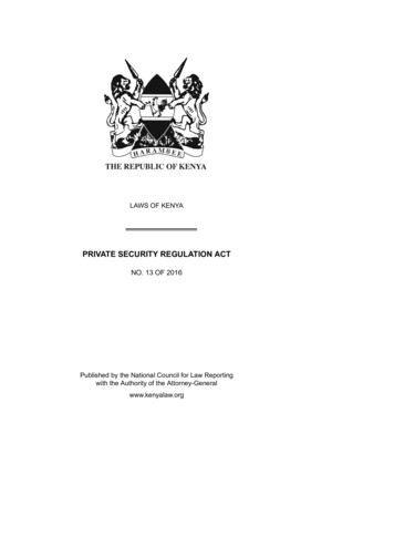 PRIVATE SECURITY REGULATION ACT
