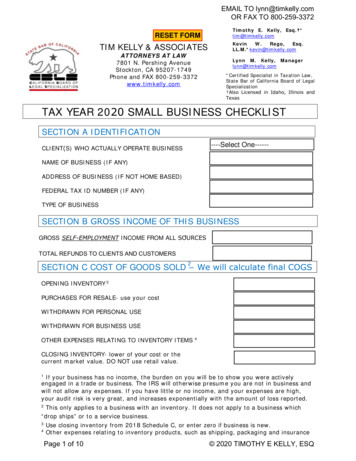 TAX YEAR 2020 SMALL BUSINESS CHECKLIST - Tim Kelly