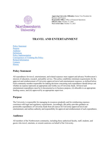 TRAVEL AND ENTERTAINMENT - Northwestern University