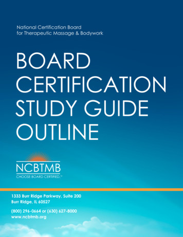 National Certification Board for Therapeutic Massage .