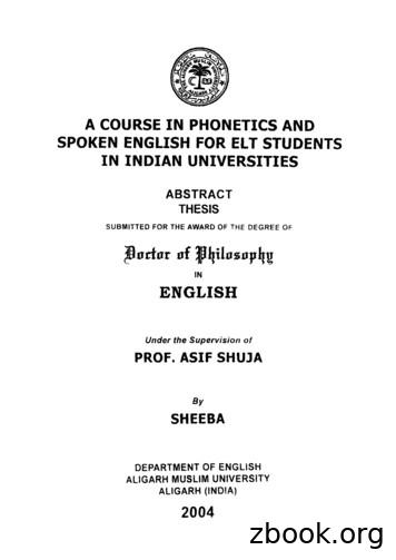 A COURSE IN PHONETICS AND SPOKEN ENGLISH FOR ELT STUDENTS .