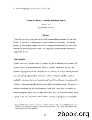 Prosody in Sentence Processing: Korean vs. English Abstract