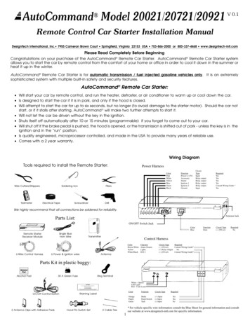 Remote Control Car Starter Installation Manual