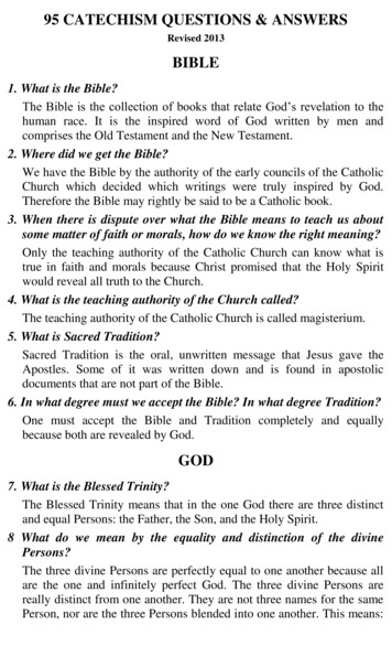 95 CATECHISM QUESTIONS & ANSWERS