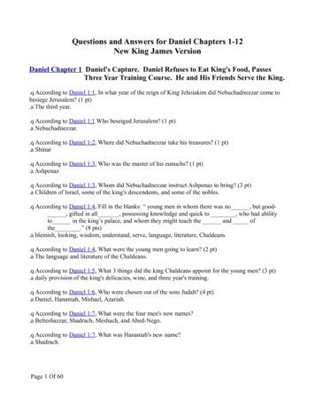 Questions and Answers for Daniel Chapters 1-12 New King .