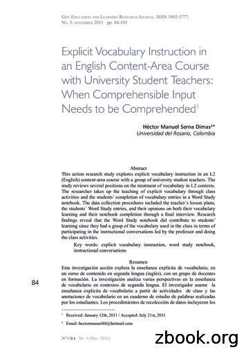 Explicit Vocabulary Instruction in an English Content-Area .