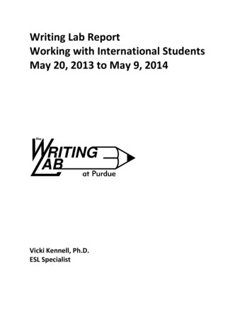 Writing Lab Report Working with International Students May .