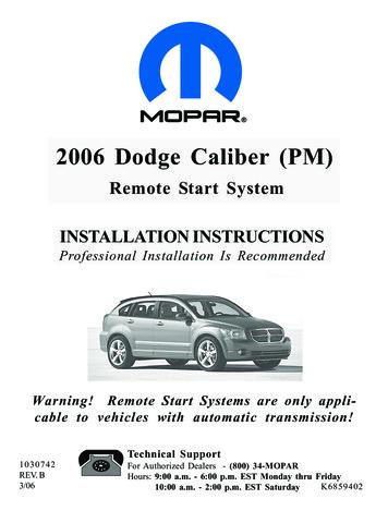 Remote Start System INSTALLATION INSTRUCTIONS