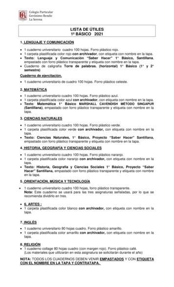 LISTA DE ÚTILES 1º BÁSICO 2021