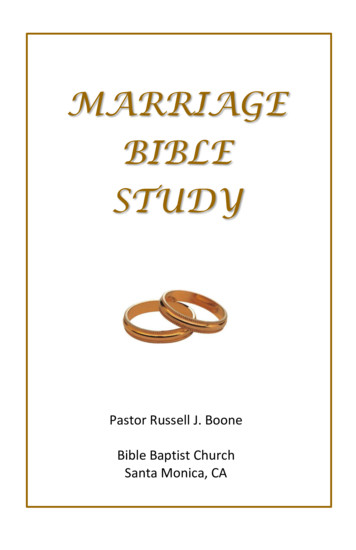 MARRIAGE BIBLE STUDY - Bible Baptist Church