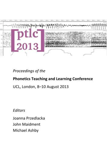 Phonetics Teaching and Learning Conference